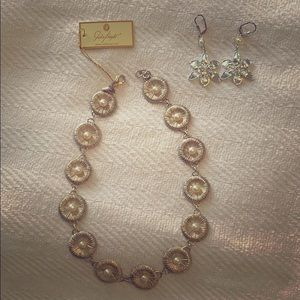 Seafan Pearl Necklace Silver & earrings